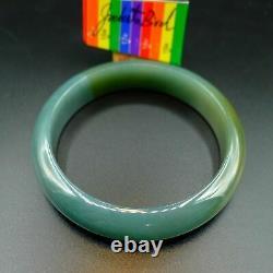 JadeiteBird57.8mm Certified 100% Natural Grade A Jadeite Jade Bracelet Bangle