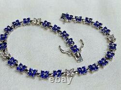 LeVian Ceylon Sapphire Diamond 5.30tcw Tennis Bracelet 14kWG CERTIFIED AUTHENTIC
