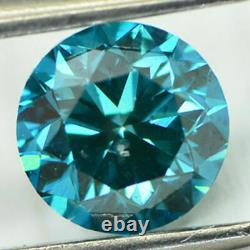 Loose Fancy Blue Diamond Round Shaped Natural Enhanced 1.08 Carat SI1 Certified