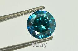 Loose Round Diamond Fancy Blue Color SI1 Certified Natural Enhanced 1.72 Carat