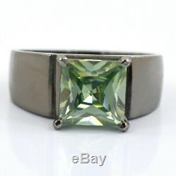 Men's Collection 3.45ct Princess Cut Blue Diamond Solitaire Ring, Certified. AAA