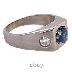 Men's Natural Blue Sapphire Diamond 14 Karat White Gold Ring AGL Certified