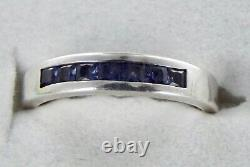 Montana Yogo Sapphire 7 Stone Channel Set Sterling Silver Band Certified