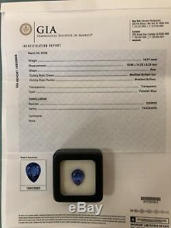 Museum Grade GIA Certified 16.77 Ct Intense Purplish Blue Pear Shape Tanzanite