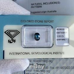 NATURAL 1.03ct Blue Sapphire IGI CERTIFIED Cushion Cut Australian Gem