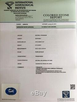 NATURAL Purple Blue CEYLON Sapphire 0.73ct RARE IGI Certified Sri Lanka Gem