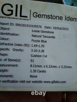 NATURAL TANZANITE GIL CERTIFIED CUSHION CUT 1.39ct 8.11×6.12mm VVS PURPLE BLUE