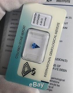 NATURAL Vivid Blue UNTREATED Sapphire 0.49ct IGI CERTIFIED Fancy Custom Kite Cut