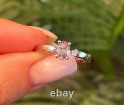 Natural Alexandrite Diamond Ring 0.63ct Oval Blue Green Certified 14K White Gold