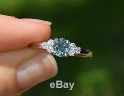 Natural Alexandrite Diamond Ring 0.80ct Oval Blue Green Certified 14K White Gold
