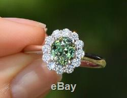 Natural Alexandrite Diamond Ring 1.49ct Oval Blue Green Certified 14K White Gold