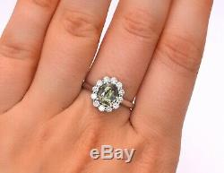 Natural Alexandrite Diamond Ring 1.61ct Oval Blue Green Certified 14K White Gold