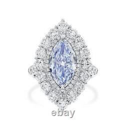 Natural Blue Diamond Ring 4.86Ct Marquise Shape VS1 18k White Gold GIA Certified