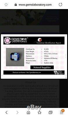 Natural Blue Sapphire 4.75 Ct Kashmir Emerald Cut Loose Gemstone Certified