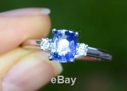 Natural Blue Sapphire Diamond Ring 1.29 ct Certified 14K White Gold size 7