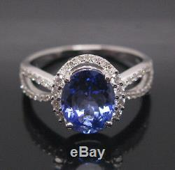 Natural Blue Tanzanite & EGL Certified Diamond 2.15Ct In 14KT White Gold Ring