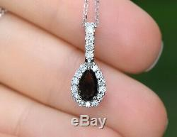 Natural Certified Alexandrite Diamond Pendant Necklace Pear 14K White Gold NEW