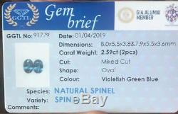 Natural Certified Unheated Blue Spinel 2.59Ct Ceylon Pair Oval Step Cut Srilanka