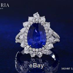 Natural Unheated Blue Sri-Lanka Sapphire Ring 6.40 Ct GRS Certified 18K Gold