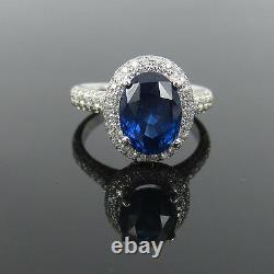 New 4.0ct GIA Certified Vivid Blue Ceylon Sapphire & 1.0ct Diamond 18K Gold Ring