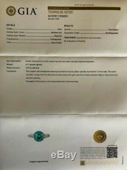 Platinum 3.17ct. Gia Certified No Heat Neon Blue Paraiba Tourmaline Diamond Ring