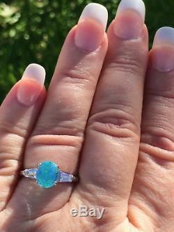 Platinum 3.27 Ct. Certified Gia Neon Blue Green Paraiba Tourmaline Diamond Ring