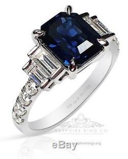 Platinum Blue Sapphire Ring, 3.32 tcw Asscher Cut Ceylon Sapphire GIA Certified