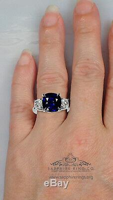 Platinum Blue Sapphire Ring 6.49 tcw GIA Certified Cushion Cut Natural Sapphire