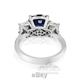 Platinum Blue Sapphire Ring 6.49 tcw GIA Certified Cushion Cut Natural Sapphire