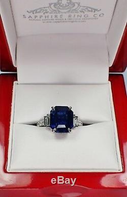 Platinum Blue Sapphire Ring Set With 6.86 tcw Asscher Cut Sapphire GIA Certified