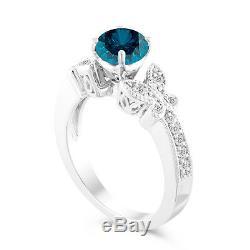 Platinum Enhanced Blue Diamond Engagement Ring Certified 1.20 Carat Unique