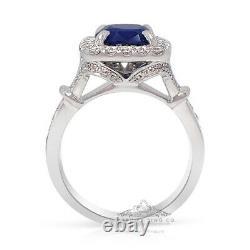 Platinum Natural Sapphire Ring, 3.56 tcw Blue Cushion Cut Ceylon GIA Certified