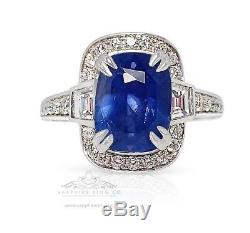 Platinum Sapphire Ring, 4.69 tcw Untreated Blue Ceylon Sapphire GIA Certified