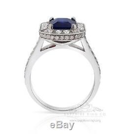Platinum Sapphire Ring, GIA Certified 3.01 tcw Blue Emerald Cut Ceylon Sapphire
