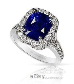 Platinum Sapphire Ring, GIA Certified 5.16 tcw Blue Cushion Cut Ceylon Sapphire