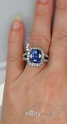 Platinum Sapphire Ring, GIA Certified 6.72 tcw Blue Cushion Untreated Sapphire