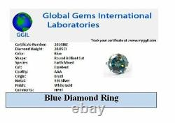 RARE 20.05 Ct Certified Blue Diamond Unisex Cocktail Ring, Excellent Cut & Luster