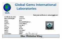 RARE 31.15 Ct Certified Blue Diamond Ring, Amazing Shine & Bling WATCH VIDEO