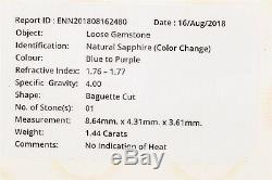 RARE $5000 1.44ct Natural NO HEAT PURPLE BLUE Certified Sapphire Platinum Ring