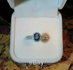 RARE! Certified natural Blue Indicolite Tourmaline 5x7mm silver ring 8.5US
