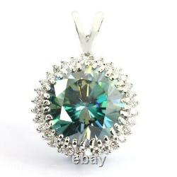 Rare 10 Ct Certified Blue Diamond Pendant with VVS1 White Diamond Accents