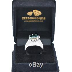 Rare 10Ct Certified Natural Earth Mined Blue Diamond Men's Ring in Heavy Setting