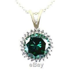 Rare 3.80 Cts AAA Certified, Blue Diamond Pendant With VVS White Diamonds