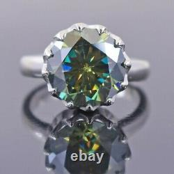 Rare 6.00 Ct Certified Earth Mined Blue Diamond Solitaire Ring, Great Sparkle