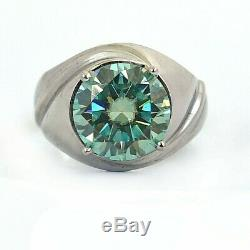 Rare 7ct Certified Blue Diamond Men's Ring In Heavy Setting, Excellent Luster