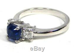 Rare Blue Sapphire Ring 18K White Gold 3 Stone Certified Natural Heirloom $4,978