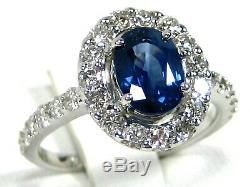 Rare Blue Sapphire Ring 18K white gold Halo GIA Certified Natural Heirloom $9,98