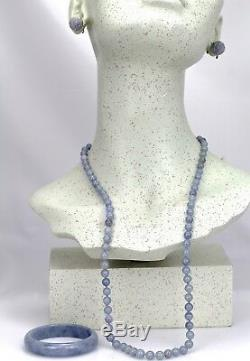 Rare GIA Certified Natural Blue Lavender Jadeite Jade Bangle, Necklace, Earrings