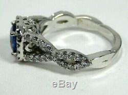 Rare IF Blue Sapphire Ring 18K white gold Halo GIA Certified Heirloom $9,98