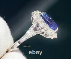 Ring Tanzanite Diamond White 14K Gold 8.6CT NO HEAT GIA Certified RETAIL $16,700